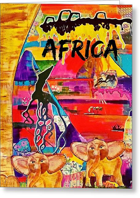Little Ones In Africa Greeting Card by Jan Steadman-Jackson