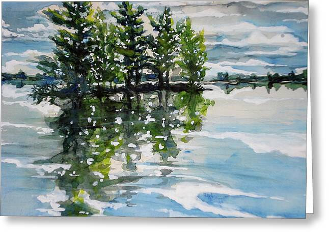 Boundary Waters Paintings Greeting Cards - Little Pine Island Greeting Card by Bud Bullivant