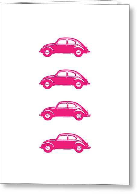 Little Pink Beetles Greeting Card
