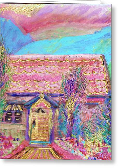 Little Pink House Greeting Card by Anne-Elizabeth Whiteway