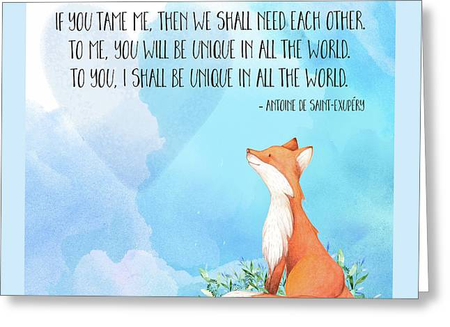 Little Prince Fox Quote, Text Art Greeting Card by Tina Lavoie