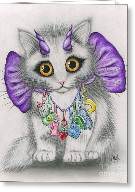 Little Purple Horns - 1980s Cute Devil Kitten Greeting Card