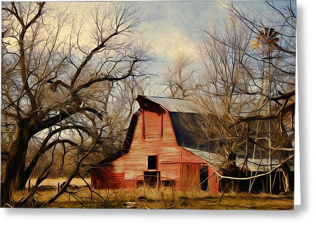 Little Red Barn Greeting Card by Lana Trussell