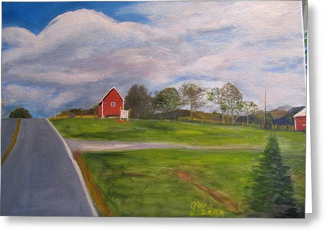Little Red Barn On Detrick Rd Greeting Card by Gloria Condon