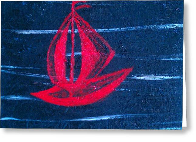 Greeting Card featuring the painting Little Red Boat  by Jacqueline McReynolds