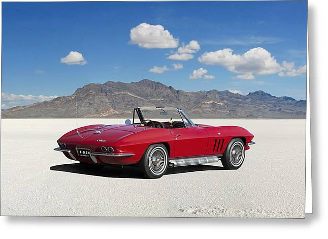 Greeting Card featuring the digital art Little Red Corvette by Peter Chilelli