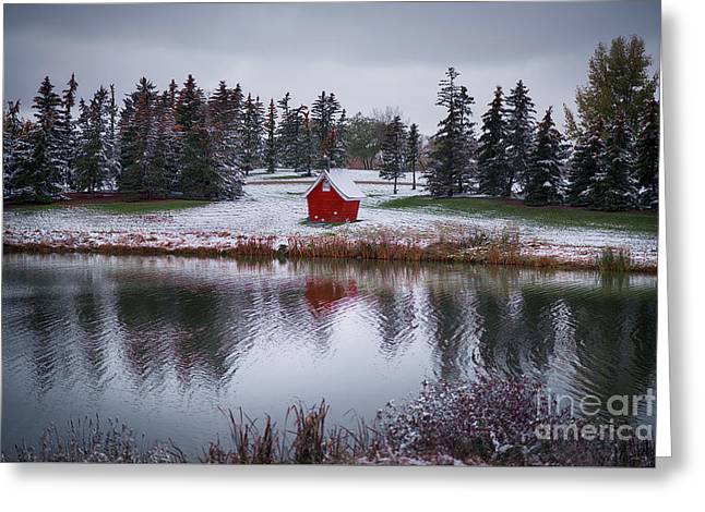 Little Red House Greeting Card by Ian McGregor