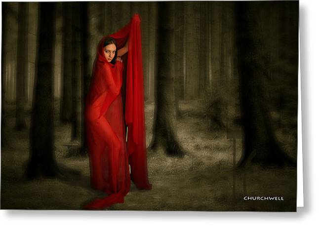 Little Red In Woods Greeting Card by Thomas Churchwell