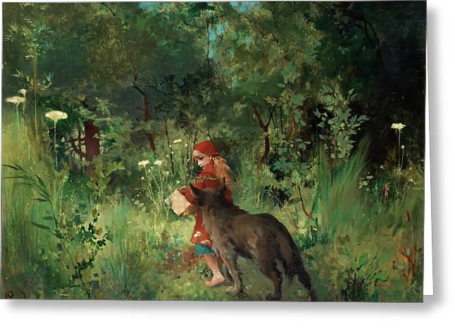 Little Red Riding Hood Greeting Card by Mountain Dreams