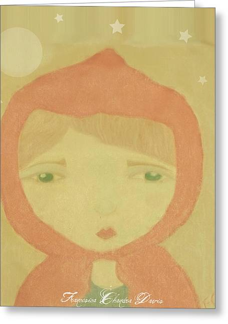 Wiccan Art Greeting Cards - Little Red Riding Hood Greeting Card by Sacred  Muse