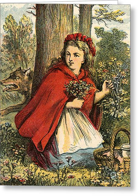Little Red Riding Hood Gathering Flowers Greeting Card