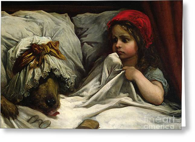 Fairy Tale Greeting Cards - Little Red Riding Hood Greeting Card by Gustave Dore