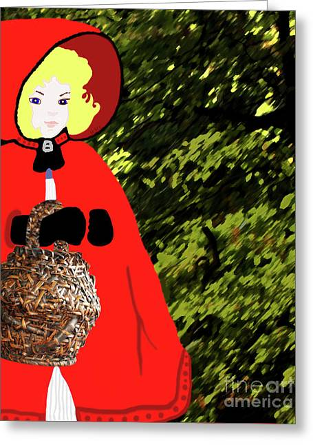 Little Red Riding Hood In The Forest Greeting Card by Marian Cates