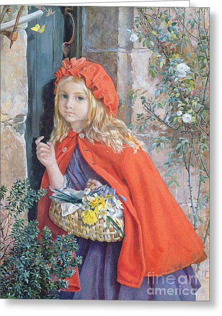 Little Red Riding Hood Greeting Card by Isabel Oakley Naftel