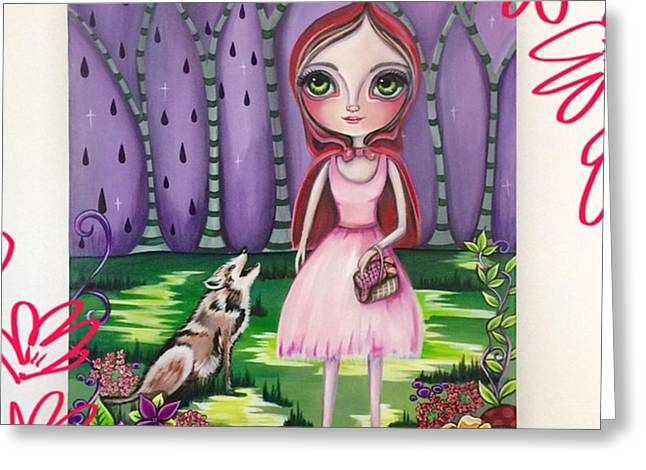 little Red Riding Hood Painting Greeting Card