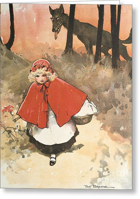 Little Red Riding Hood Greeting Card by Tom Browne