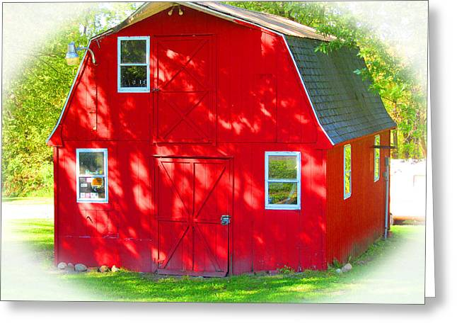 Little Red Riding Hoods Barn Cabin Greeting Card