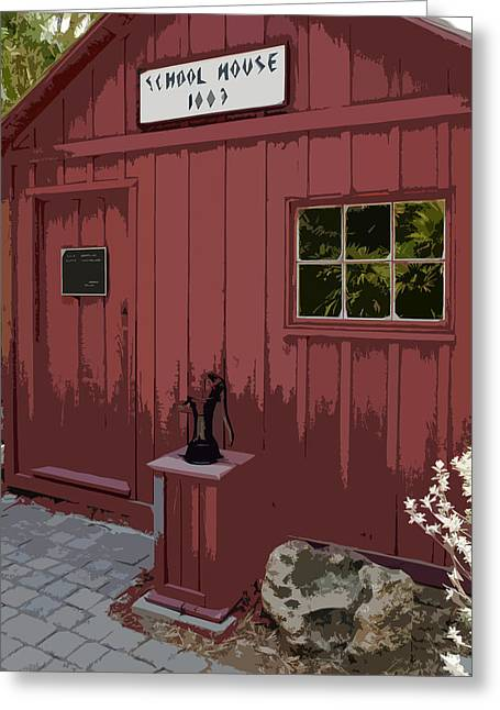 One Room School Houses Digital Greeting Cards - Little Red Schoolhouse Greeting Card by Allan  Hughes