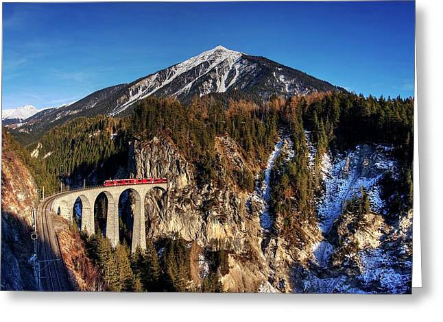 Greeting Card featuring the photograph Little Red Train In The Swiss Alps by Peter Thoeny
