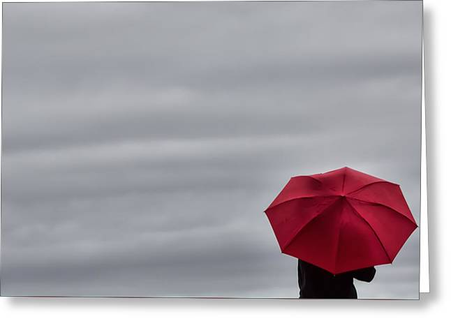 Little Red Umbrella In A Big Universe Greeting Card