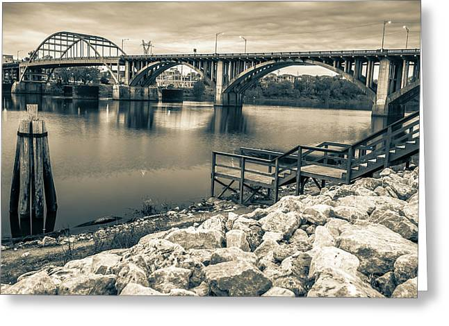 Little Rock Arkansas Broadway Bridge Black And White -  Sepia Greeting Card by Gregory Ballos