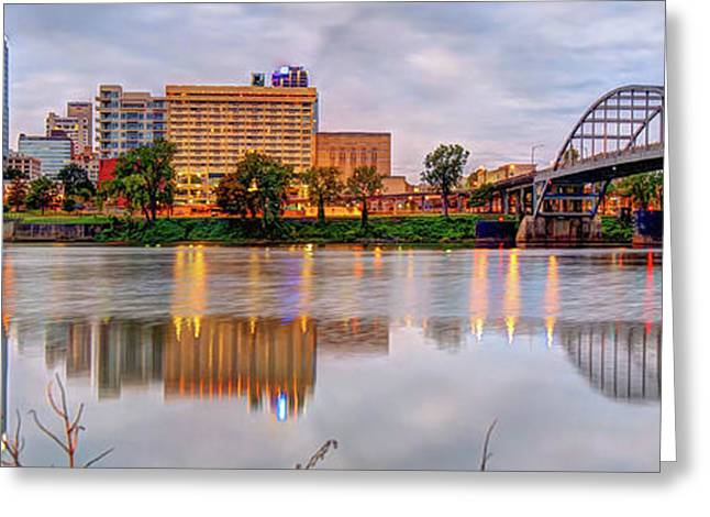Little Rock Arkansas Skyline Panoramic Greeting Card by Gregory Ballos