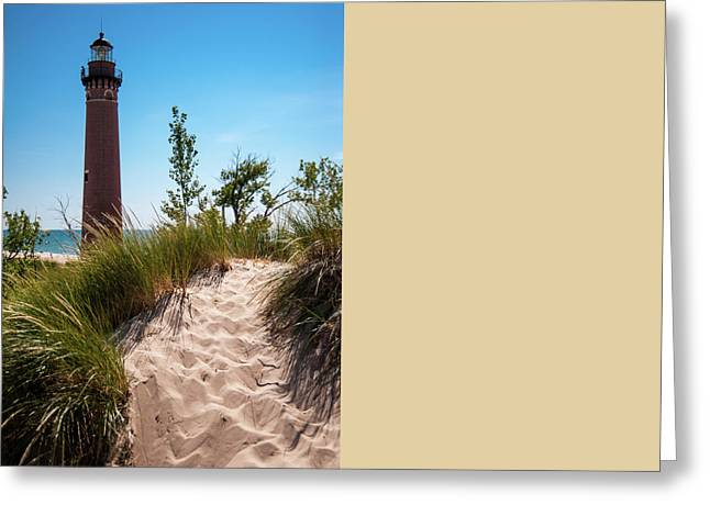 Greeting Card featuring the photograph Little Sable Light Station - Film Scan by Larry Carr