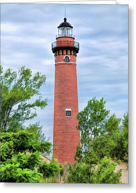 Greeting Card featuring the painting Little Sable Lighthouse by Christopher Arndt