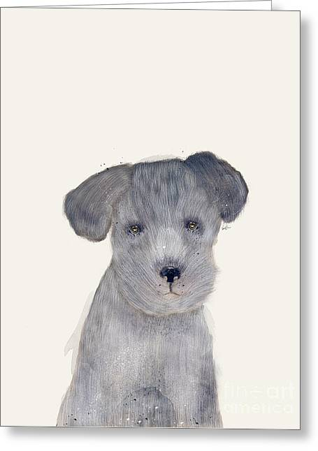 Greeting Card featuring the painting Little Schnauzer by Bri B