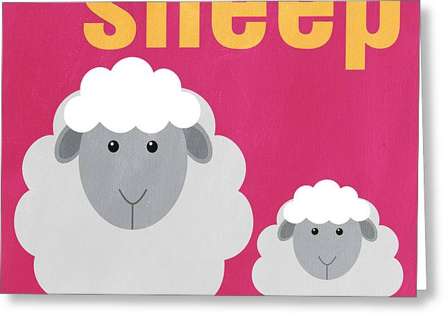 Kids Mixed Media Greeting Cards - Little Sheep Greeting Card by Linda Woods