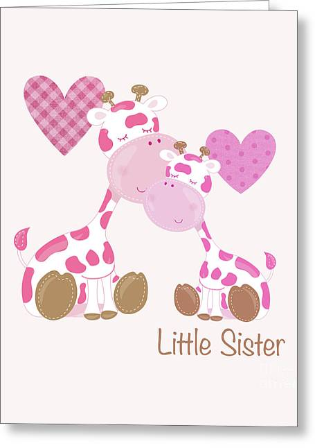 Little Sister Cute Baby Giraffes And Hearts Greeting Card by Tina Lavoie