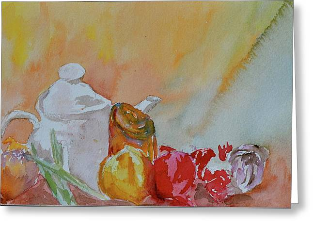 Greeting Card featuring the painting Little Still Life by Beverley Harper Tinsley