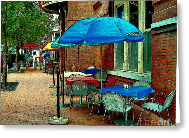 Greeting Card featuring the painting Little Street Cafe by Elinor Mavor