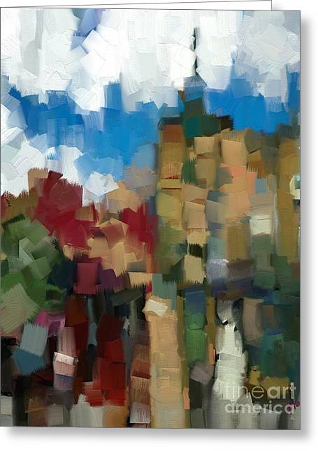 Little Town Abstract Greeting Card by Carrie Joy Byrnes