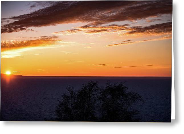 Greeting Card featuring the photograph Little Traverse Bay Sunset by Onyonet  Photo Studios
