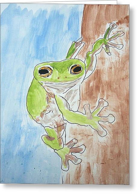 Little Tree Frog Greeting Card by Jennifer Coleman