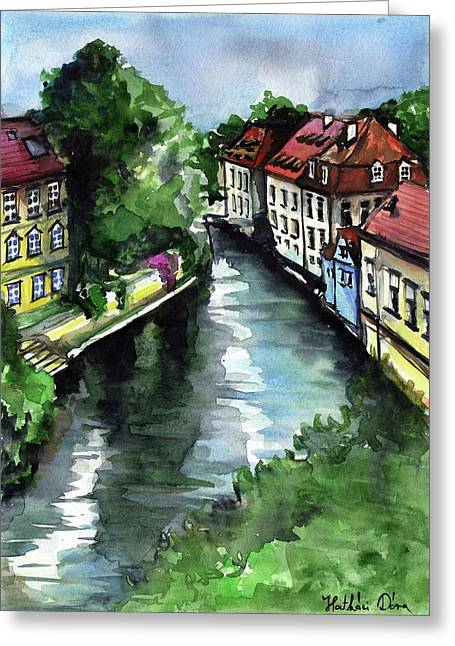 Greeting Card featuring the painting Little Venice In Prague Certovka Canal by Dora Hathazi Mendes
