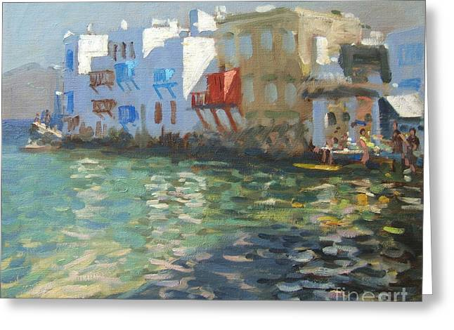 Aegean Sea Greeting Cards - Little Venice Mykonos Greeting Card by Andrew Macara