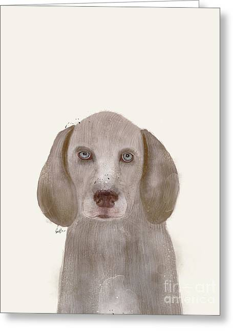 Greeting Card featuring the painting little Weimaraner by Bri B