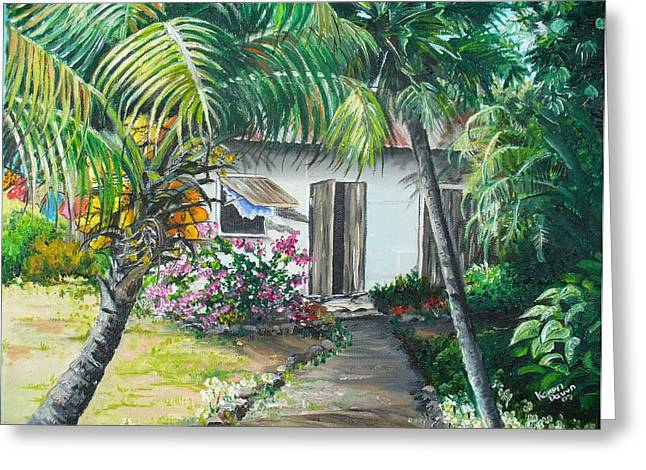 Little West Indian House 2...sold Greeting Card by Karin  Dawn Kelshall- Best