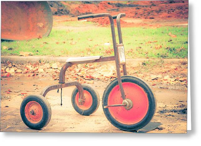 Little Wheels Greeting Card by Toni Hopper