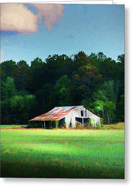 Little White Barn Greeting Card by Marvin Spates