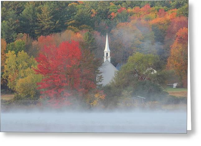 Little White Church Autumn Fog Greeting Card by John Burk