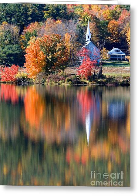 Little White Church, Eaton, New Greeting Card by Larry Landolfi