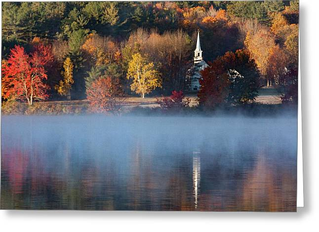Greeting Card featuring the photograph Little White Church On Crystal Lake by Jeff Folger