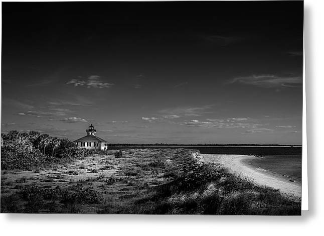 Little White Lighthouse Bw Greeting Card