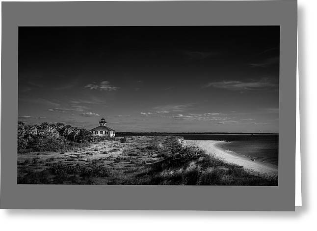 Little White Lighthouse Bw Greeting Card by Marvin Spates