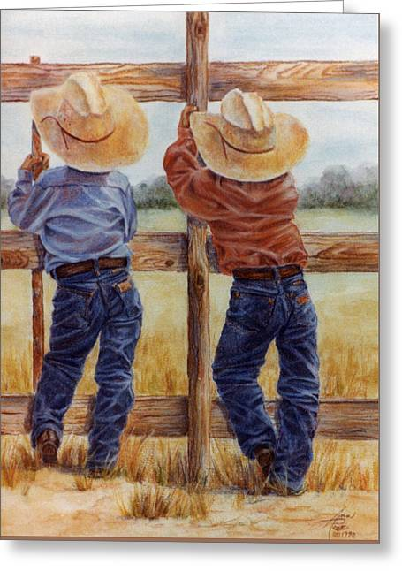 Little Wranglers Greeting Card by Ann Peck