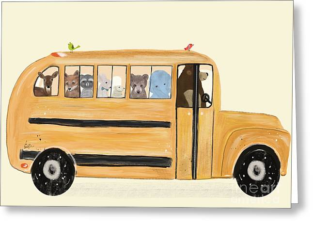 Little Yellow Bus Greeting Card