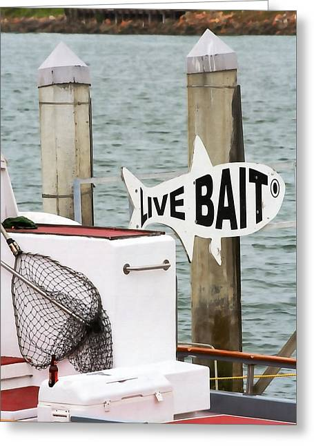 Live Bait Greeting Card by Art Block Collections